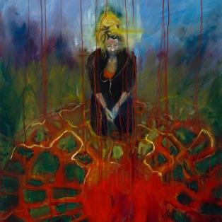 Elisabeth shines beneath the Earth (2015) Oil, acrylic & gold leaf on board 124 x 100cm